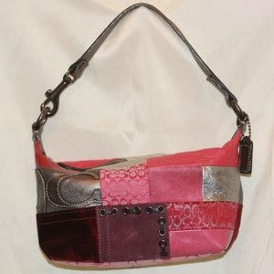 Coach Red Pink Patchwork Leather/Canvas Pouchette